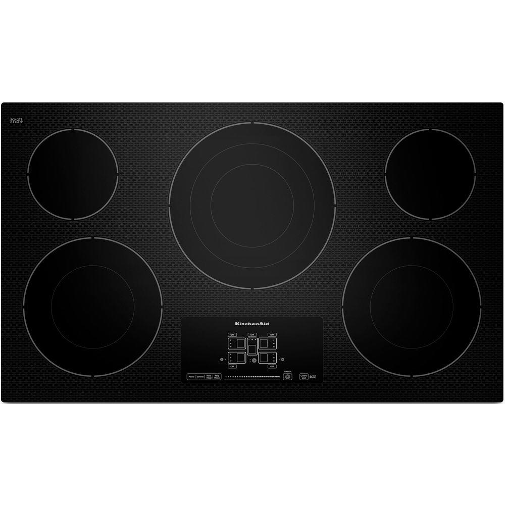 36 In. Ceramic Glass Electric Cooktop In Black With 5 Elements Including  Triple Ring