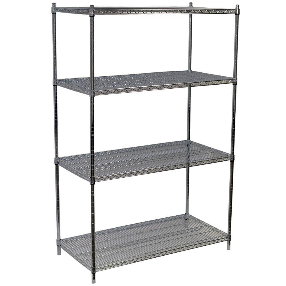 63 in. H x 48 in. W x 36 in. D 4-Shelf Steel Wire Shelving Unit in Chrome