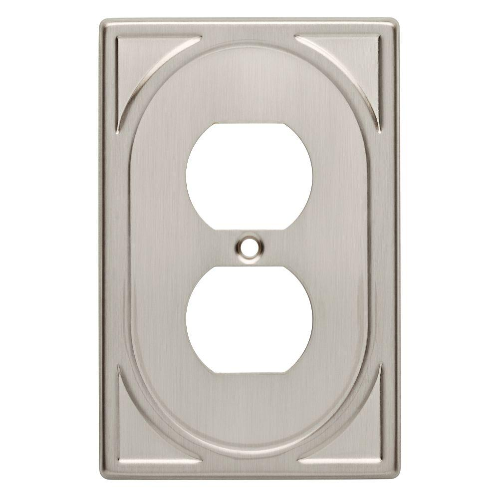 cambray decorative single duplex outlet cover satin nickel