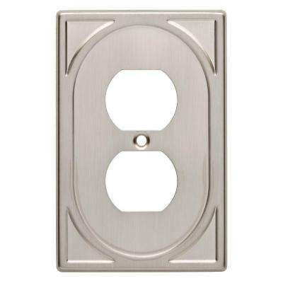 Cambray Decorative Single Duplex Outlet Cover, Satin Nickel