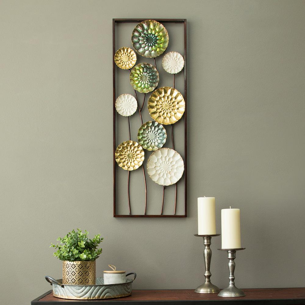 Stratton Home Decor Textured Plates Metal Wall Art ~ Stratton home decor floral wonderland metal panel wall