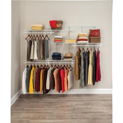 ShelfTrack 5 ft. - 8 ft. 13.4 in. D x 96 in. W x 49.3 in. H White Wire Steel Closet System Organizer Kit