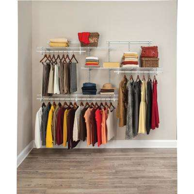 ShelfTrack 5 ft. to 8 ft. 13.4 in. D x 96 in. W x 49.3 in. H White Wire Steel Closet System Organizer Kit