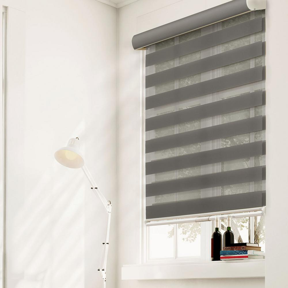 Zebra Roller Shade, Granite, Light Filtering Privacy, Cordless, 100% Polyester
