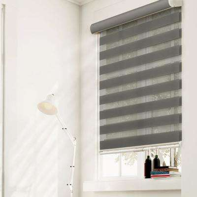 Zebra Roller Shade, Granite, Light Filtering Privacy, Cordless, 100% Polyester Yarn, Window Shade, 52 in. W x 72 in. L