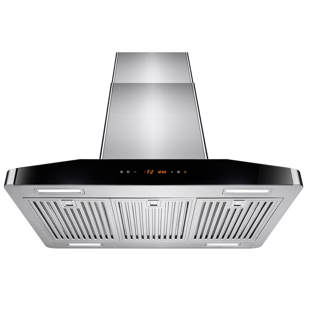 Akdy 30 In Convertible Kitchen Island Mount Range Hood Stainless Steel With Touch Controls