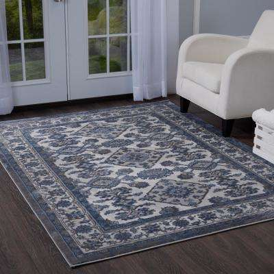 Bazaar Elegance Gray Blue 8 Ft X 10 Indoor Area Rug