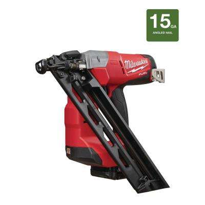 M18 FUEL 18-Volt Lithium-Ion Brushless Cordless 15-Gauge Angled Finish Nailer Kit W/ (1) 2.0Ah Battery, Charger & Bag