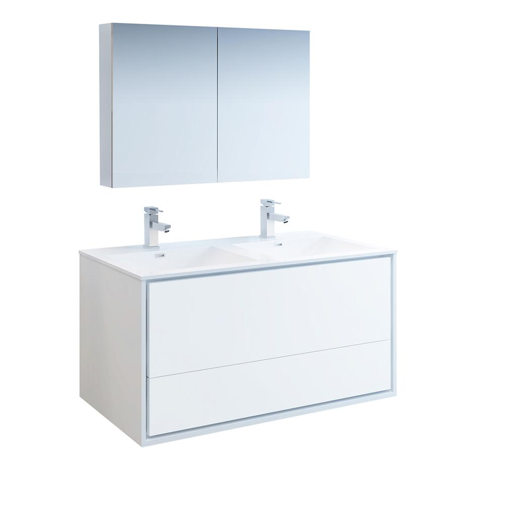 Fresca Catania 48 in. Modern Double Wall Hung Vanity in Glossy White, Vanity Top in White with White Basins, Medicine Cabinet