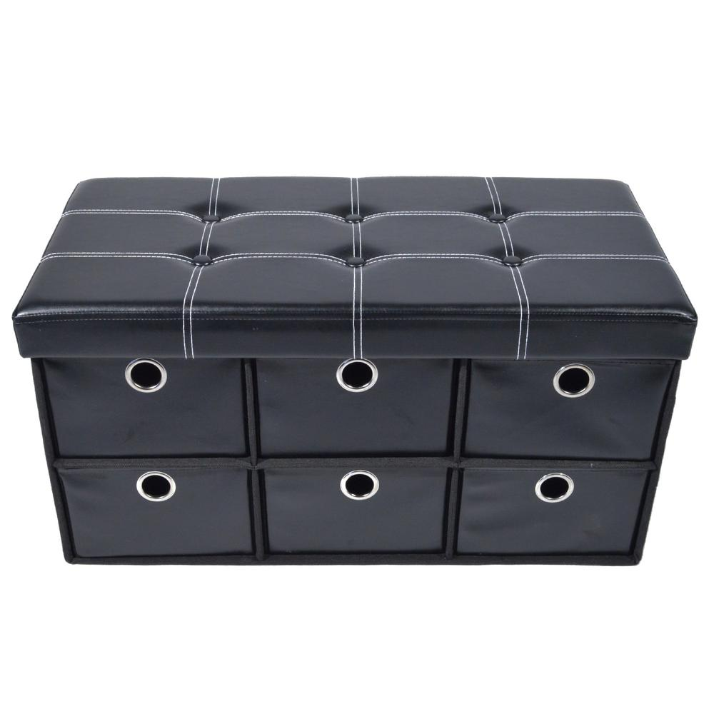 15 in. x 15 in. x 15 in. Black Faux Leather