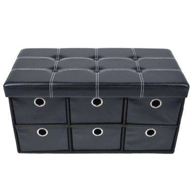 15 in. x 15 in. x 15 in. Black Faux Leather Collapsible 6-Drawer Storage Ottoman