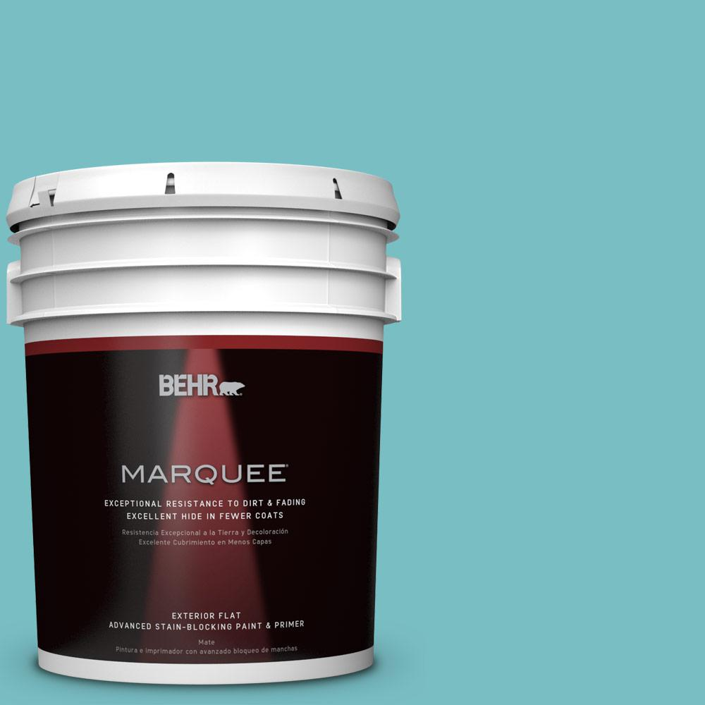 BEHR MARQUEE 5-gal. #M460-4 Pure Turquoise Flat Exterior Paint