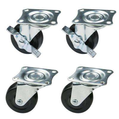 2 in. Low Profile Rubber Swivel Plate Casters (4-Pack)