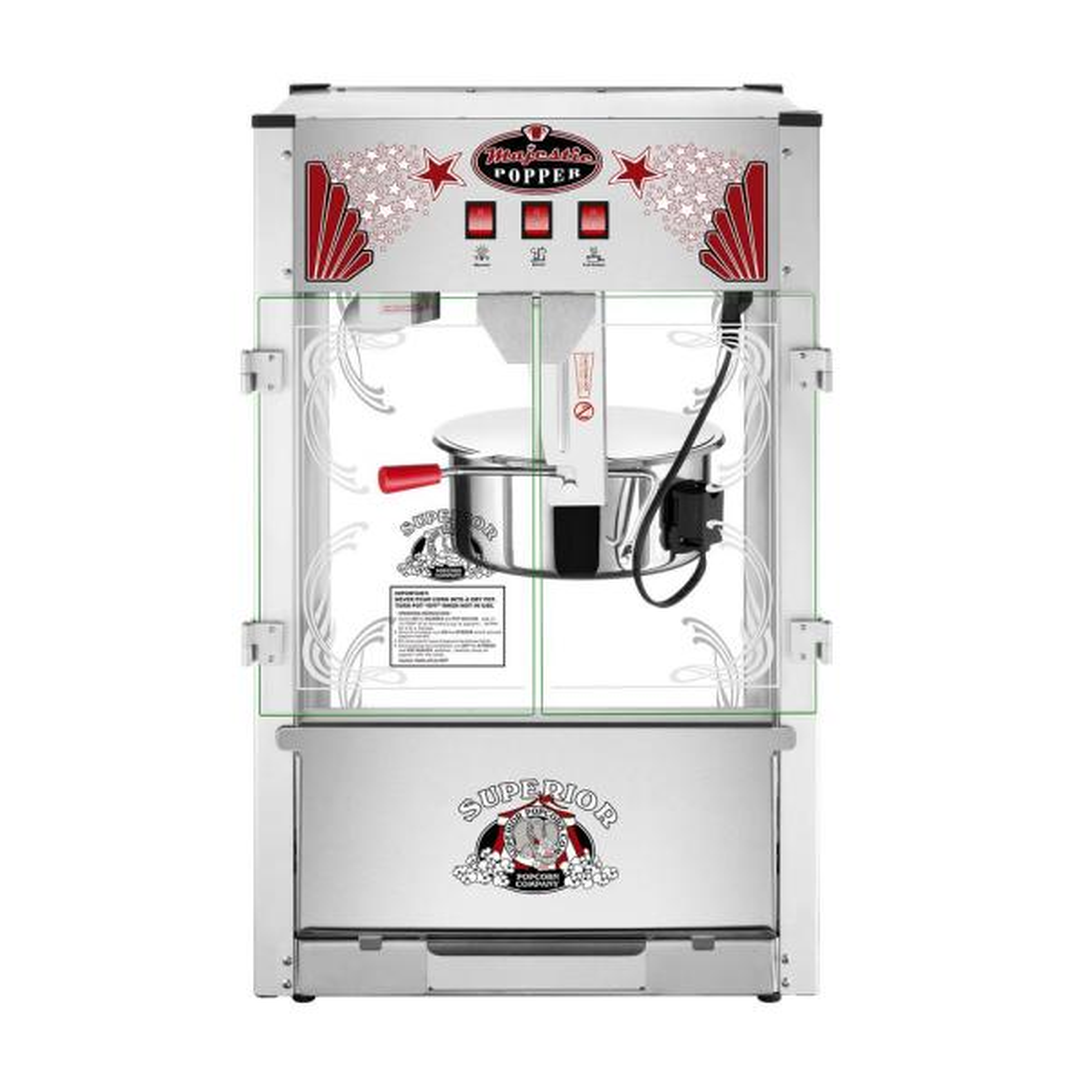 Superior Popcorn Company 16 oz. Majestic Silver Countertop Commercial Style Popcorn Machine