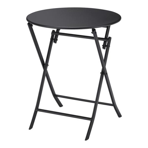 Mix and Match Black Round Steel Folding Outdoor Bistro Table