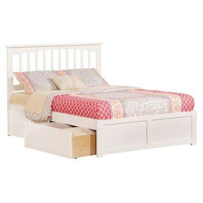 Mission White Full Platform Bed with Flat Panel Foot Board and 2-Urban Bed Drawers