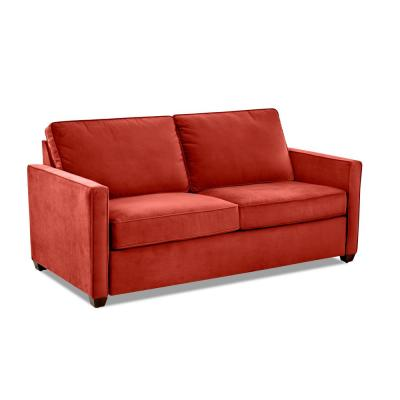 Miranda 78 in. Rouge Fabric 2-Seater Full Sleeper Sofa Bed with Square Arms