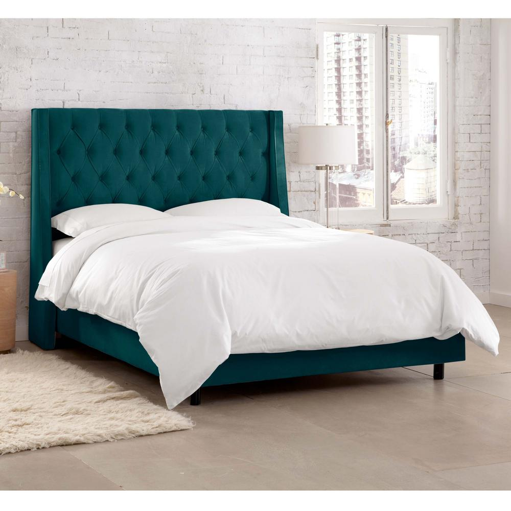 Willow Blue California King Upholstered Bed-154BEDMSTPCC - The Home ...