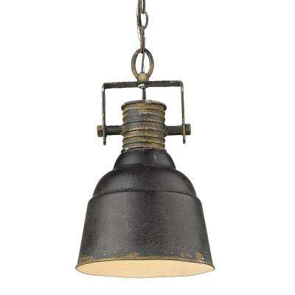 Quarry 1-Light Antique Black Iron Standard Pendant