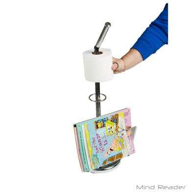 Toilet Paper Holder with Magazine Holder in Silver