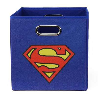 Superman Logo 10.5 in. x 10.5 in. Blue Folding Storage Bin