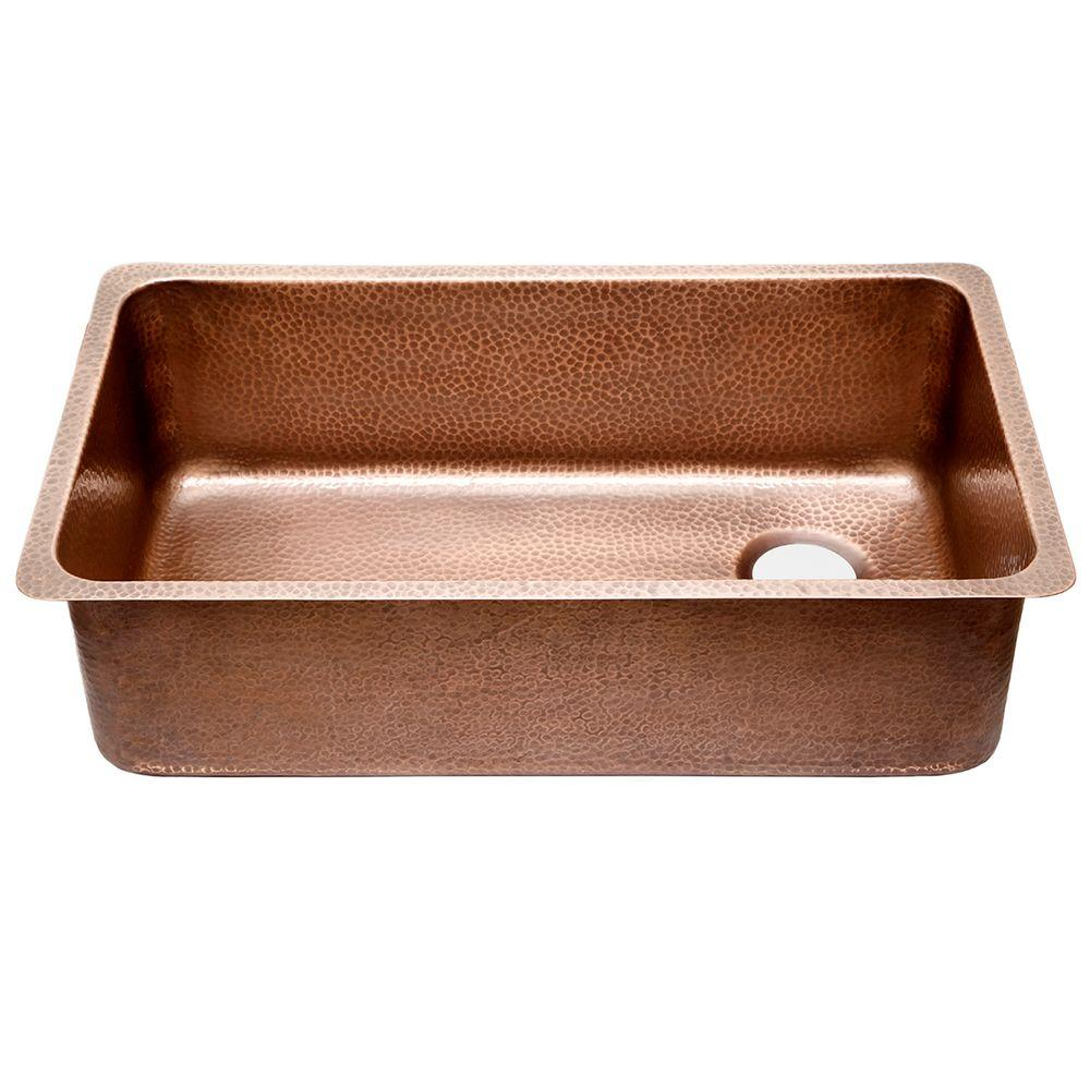 SINKOLOGY David Chef Series Undermount Copper Sink 31 in. 0-Hole Ergonomic  Single Bowl Kitchen Sink in Hammered Antique Copper