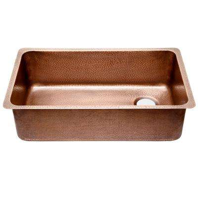 David Chef Series Undermount Copper Sink 31 in. 0-Hole Ergonomic Single Bowl Kitchen Sink in Hammered Antique Copper