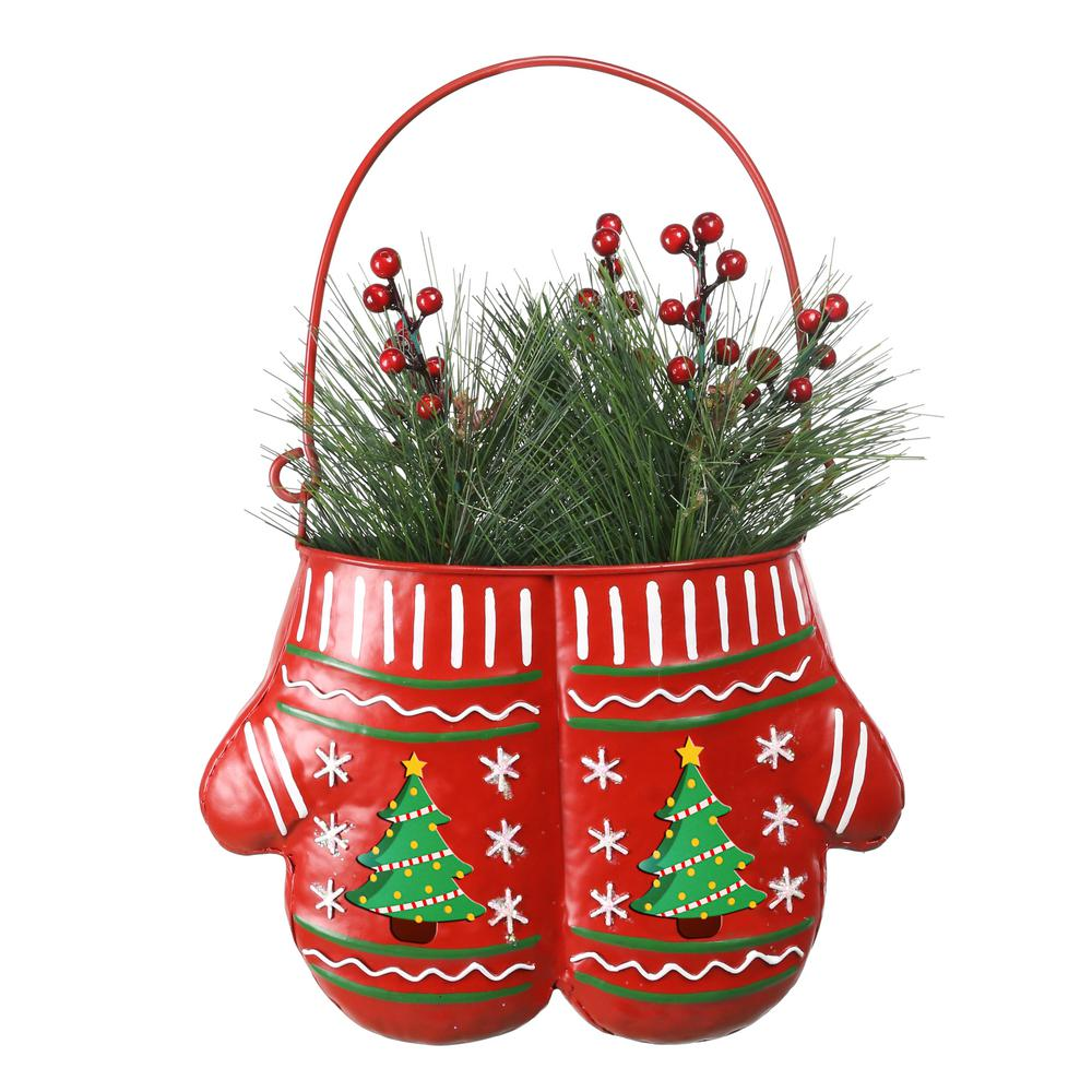Alpine Corporation 33 in. Tall Christmas Hanging Metal Red Mittens Planter with LED Light