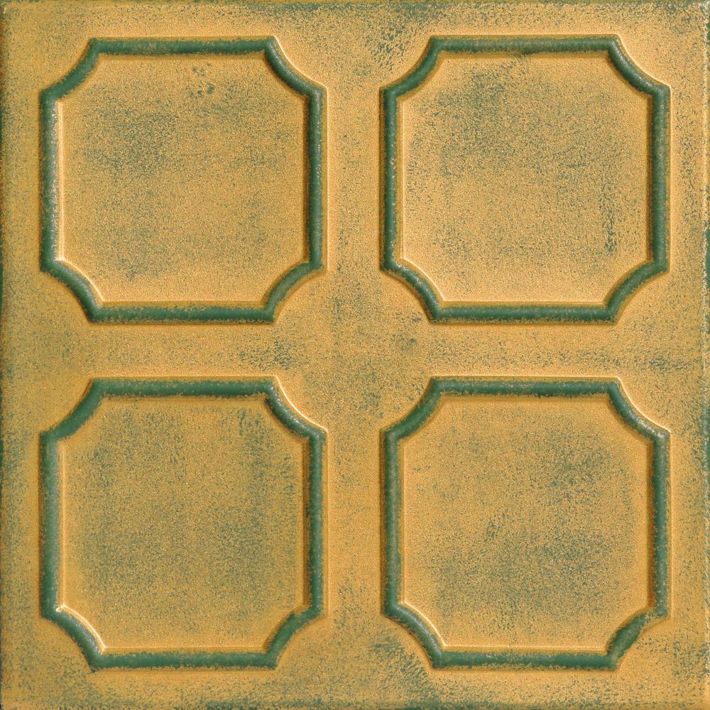 Bostonian 1.6 ft. x 1.6 ft. Foam Glue-up Ceiling Tile in Green Gold