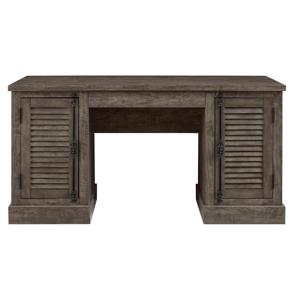 ameriwood home heathrow rustic gray double pedestal desk-hd80420