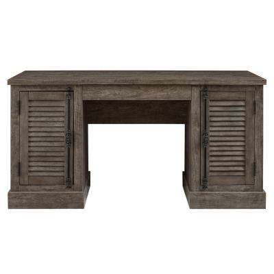 Heathrow Rustic Gray Double Pedestal Desk