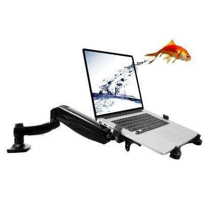 2-in-1 Full Motion Swivel Monitor Arm Desk Mounts for 11 in. - 15.6 in. Laptop with Supplied Notebook Tray