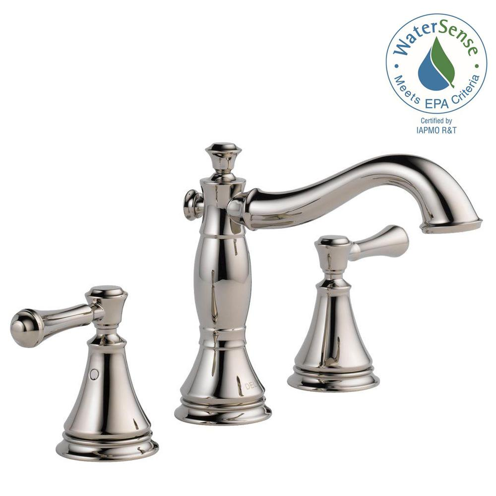 Delta Cassidy 8 in. Widespread 2-Handle Bathroom Faucet with Metal Drain Assembly in Polished Nickel