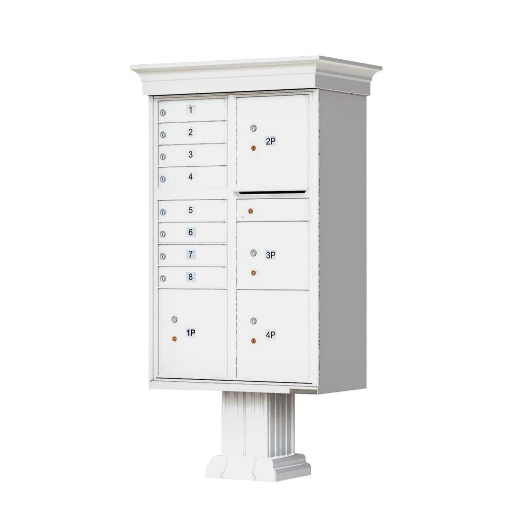 Florence Vital 1570 8 Mailboxes, 1 Outgoing, 4 Parcel Lockers Pedestal Mount Cluster Box Unit