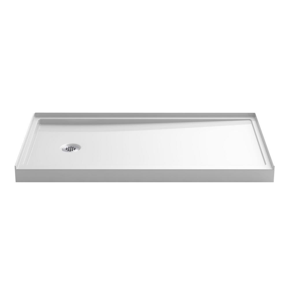 KOHLER Rely 60 in. x 32 in. Single-Threshold Shower Base with Left-Hand Drain in White