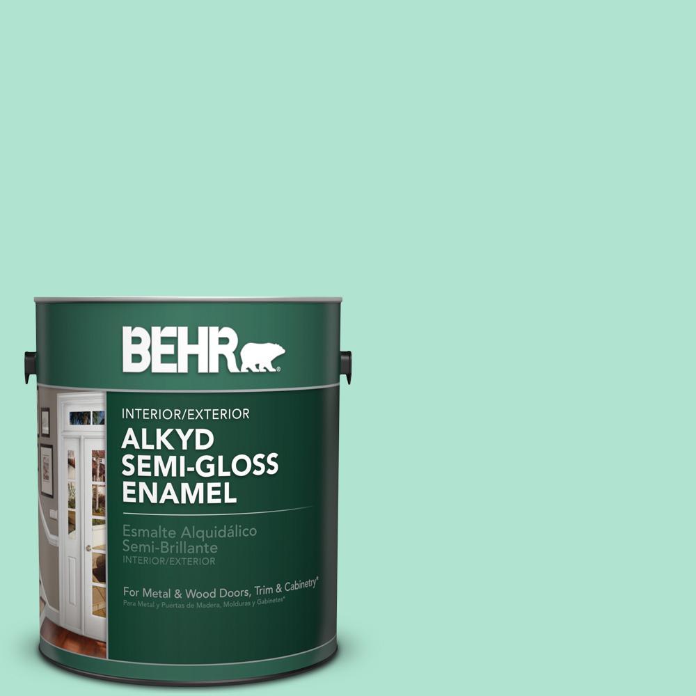 1 gal. #P420-2 Crystal Rapids Semi-Gloss Enamel Alkyd Interior/Exterior Paint