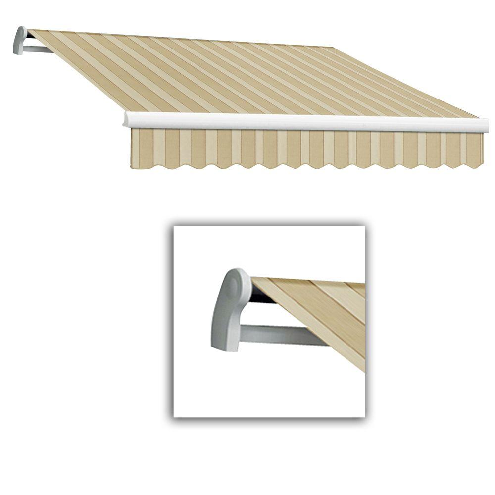 AWNTECH 12 ft. LX-Maui Right Motor with Remote Retractable Acrylic Awning (120 in. Projection) in Linen/Almond/White-Law