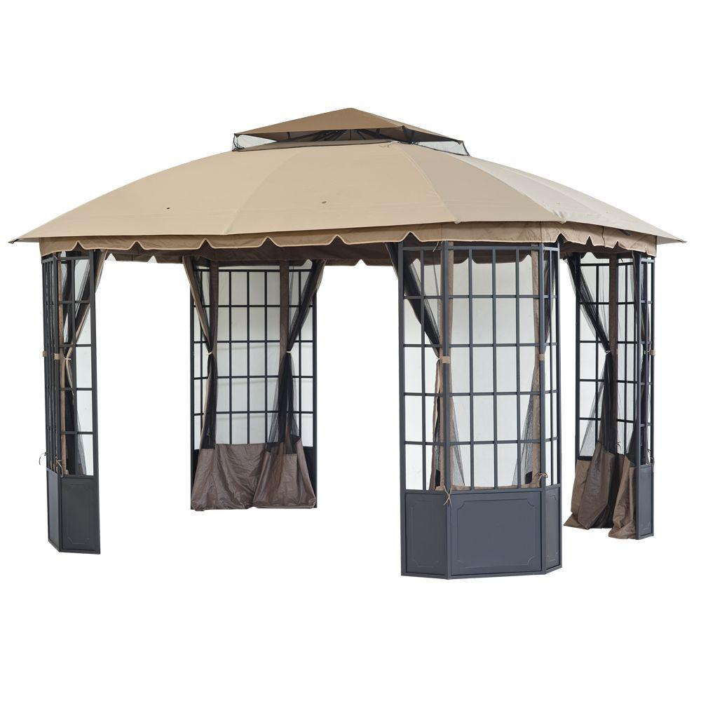 Sunjoy loden 13 ft x 10 8 ft steel and fabric gazebo l gz120pst 9d the home depot - Build rectangular gazebo guide models ...