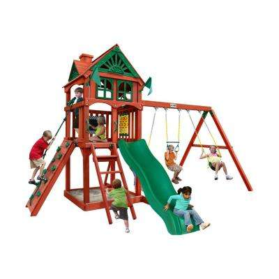 Five Star II Wooden Playset with Rock Wall and Slide