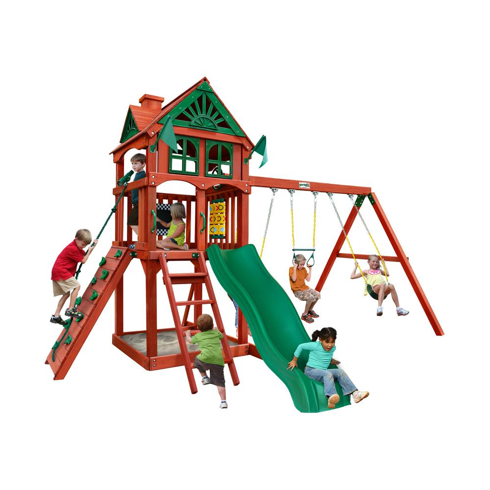 Gorilla Playsets Five Star II Wooden Swing Set with Rock Wall and Slide