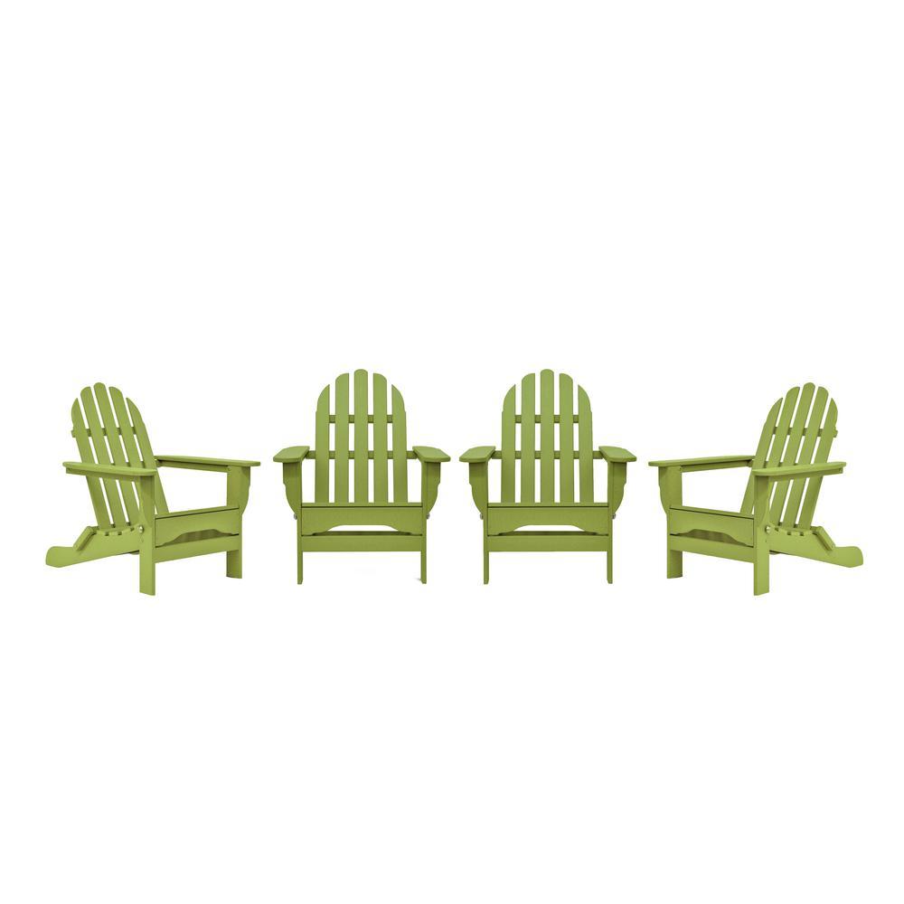 Icon Lime 4-Piece Plastic Adirondack Patio Seating Set