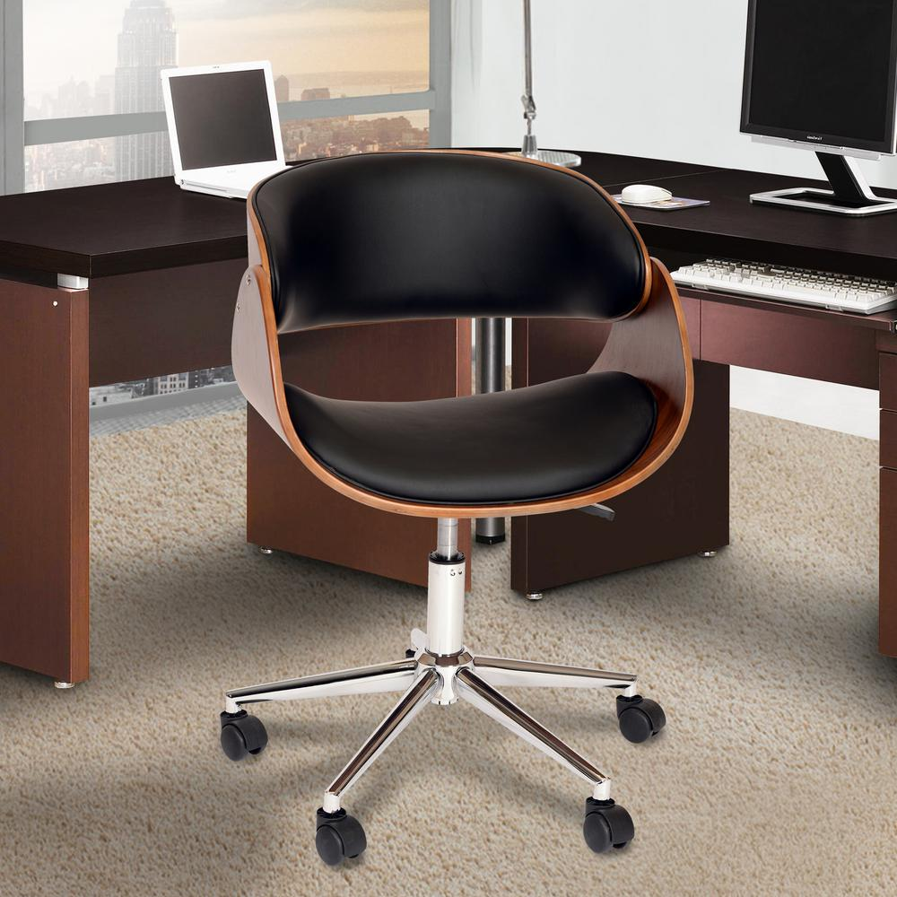 Julian 33 in. Black Faux Leather and Chrome Finish Modern Office