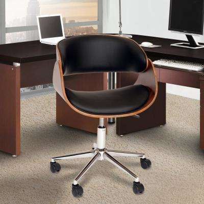 Julian 33 in. Black Faux Leather and Chrome Finish Modern Office Chair