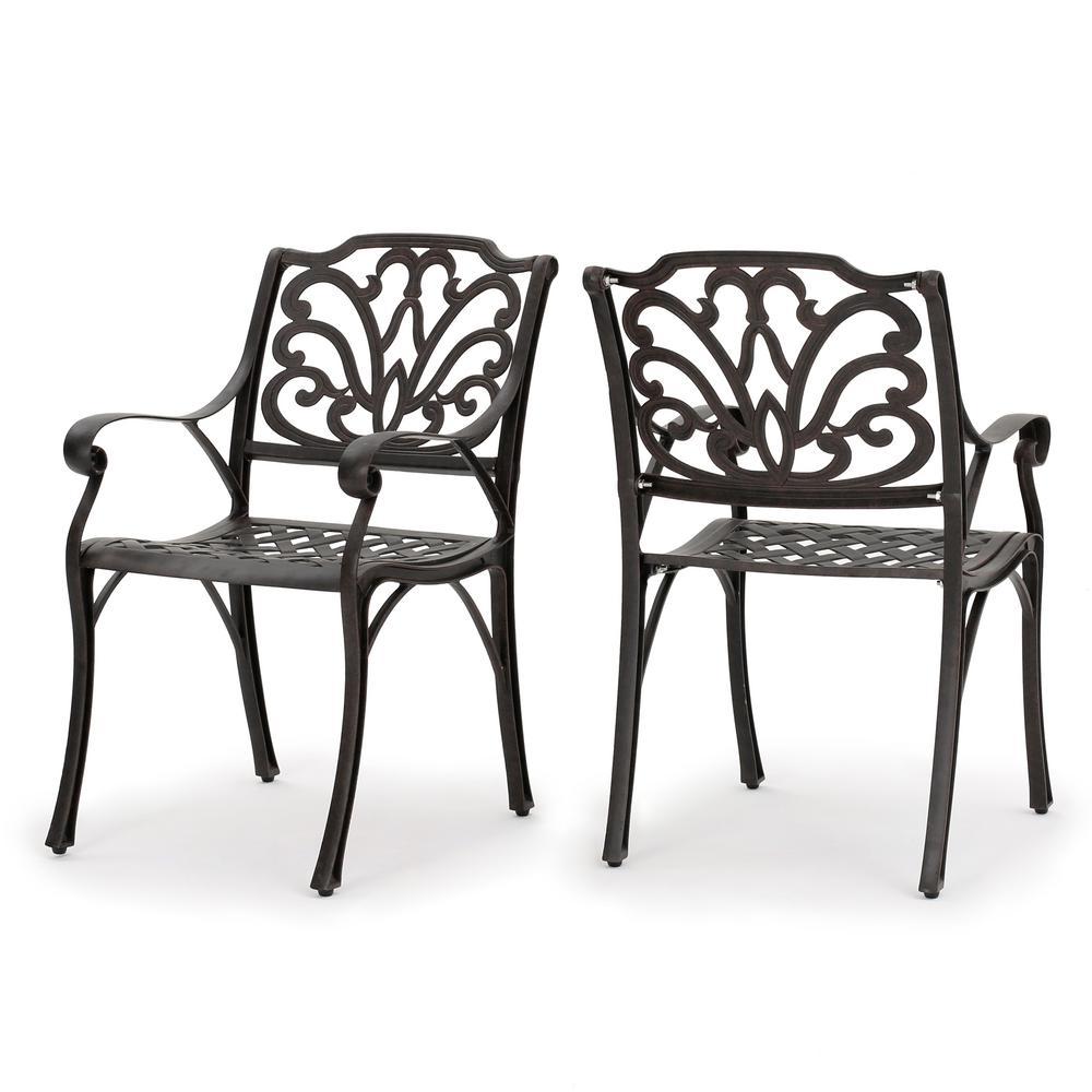Alfresco  Bronze Aluminum Outdoor Dining Chairs (Set of 2)