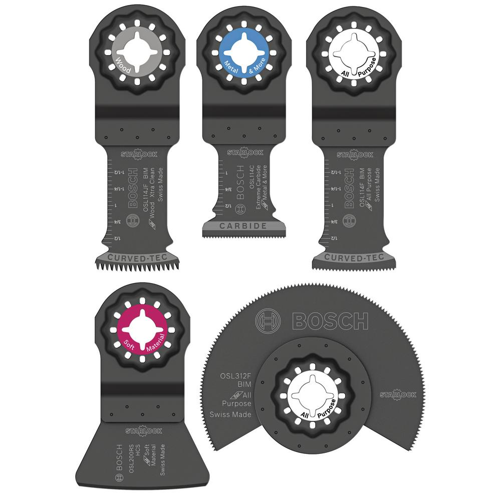 bosch starlock oscillating multi tool accessory blade set 5 piece osl005c the home depot. Black Bedroom Furniture Sets. Home Design Ideas