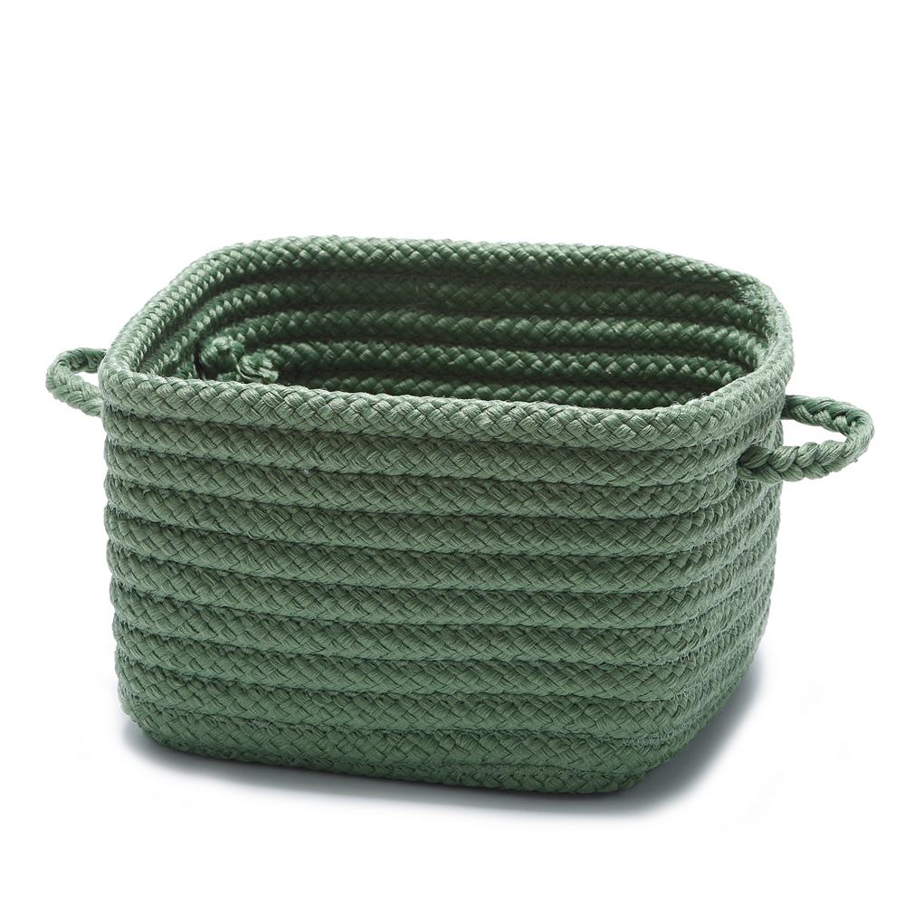 Solid Shelf Square Polypropylene Storage Basket Moss Green
