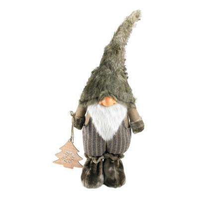 33 in. Large Woodland Gnome with Striped Pants Holding Christmas Tree