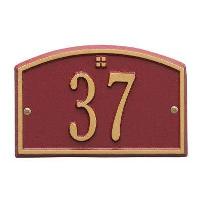 Cape Charles Rectangular Red/Gold Petite Wall 1-Line Address Plaque