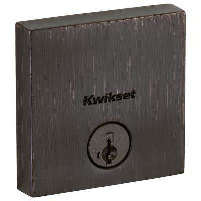 258 Downtown Venetian Bronze Square Single-Cylinder Low Profile Deadbolt Featuring SmartKey Security