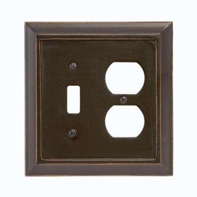 Distressed 1 Toggle and 1 Duplex Wall Plate - Black